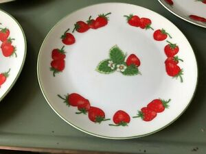 Shafford Strawberry Patch bread and butter plates set of 5 Fine Porcelain VTG