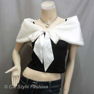 Ivory Faux Fur Stole//Bolero//Jacket//Shrug//Wrap//Shawl Satin Ribbon 50/'s Style