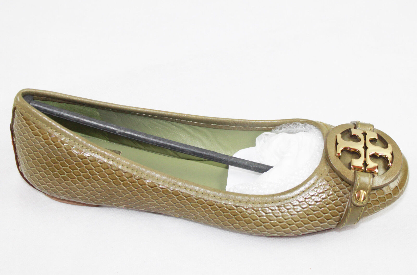 AUTH $265 Tory Burch Women Adden Vitraux Snake Print Flat Ballet Shoes
