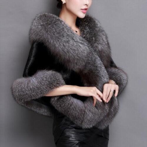 Elegant Women Faux Fur Winter Coat Warm Shawl Stole Wrap Shrug Scarf Cocktail