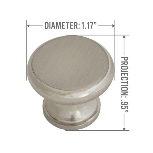"Satin Nickel Flat Topped Mushroom Stemmed Kitchen Cabinet Hardware Knob 1 1//4/"""