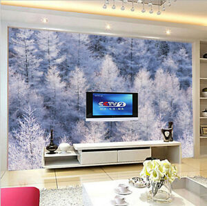 Details About 3d Winter Snow Forest Self Adhesive Wallpaper Wall Painting Tv Background Murals