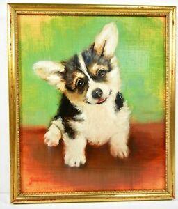 WELSH-PEMBROKE-CORGI-PUPPY-Original-Oil-Painting-8-x10-034-Framed-Signed