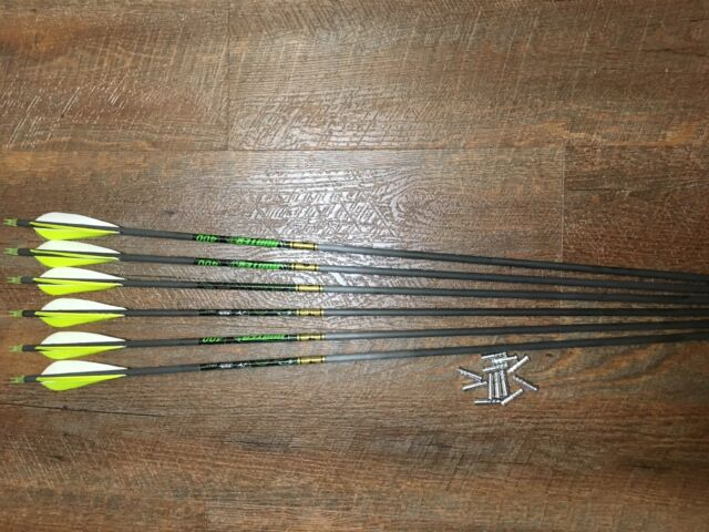 Gold Tip Traditional 340 Arrows With Shield Cut Feathers Custom Made Set of 12