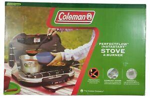 NEW IN BOX - COLEMAN PERFECTFLOW 2 BURNER PROPANE CAMP STOVE - 22,000 BTU