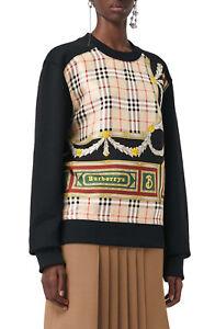 d8f1684516ae new BURBERRY Women s Glenmore Archive Scarf Print Panel Sweatshirt ...