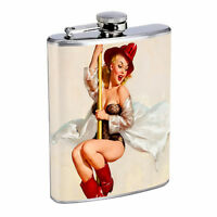 Flask 8oz Stainless Steel Classic Vintage Model Pin Up Girl Design-078 Whiskey