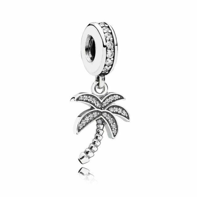 925 Sterling Silver Sparkling Palm Tree w Clear CZ Dangle Charm