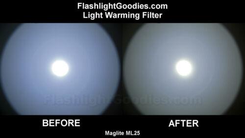 Blanc neutre réchauffement Filtre pour Maglite ML25 C-Cell DEL Lampe de Poche