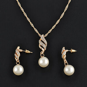Schmuckset-Strass-Perle-Collier-Halskette-Ohrringe-Hochzeit-Braut-Schmuck-Nett
