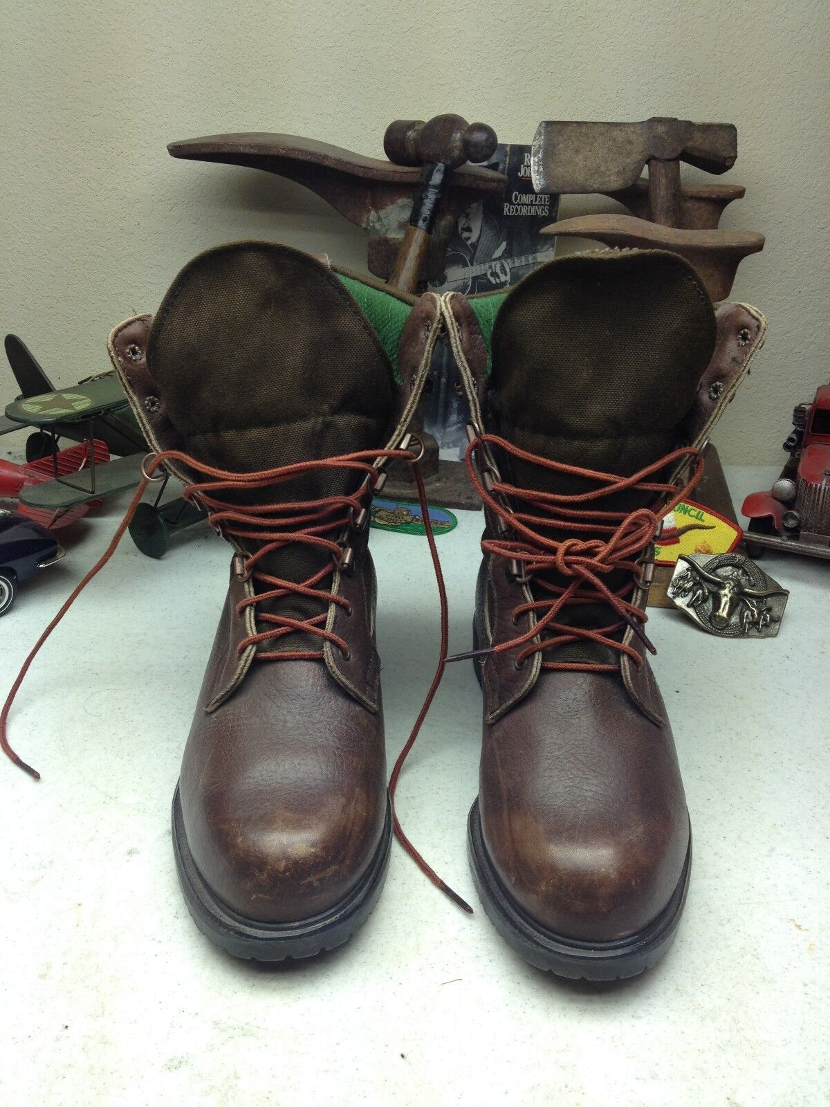 VINTAGE USA BROWNING DISTRESSED BROWN LEATHER & CANVAS LACE UP HUNTING BOOTS 9 D