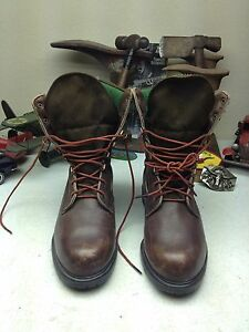 VINTAGE-USA-BROWNING-DISTRESSED-BROWN-LEATHER-amp-CANVAS-LACE-UP-HUNTING-BOOTS-9-D