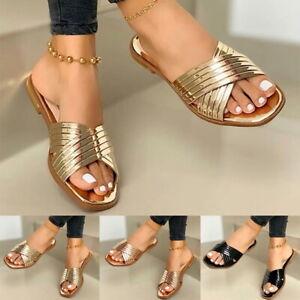 Ladies Women Summer Open Toe Square Toe Flat Slippers Beach Shoes Fashion❤️