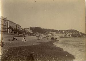 PHOTO-ANCIENNE-VINTAGE-SNAPSHOT-NICE-QUAI-DU-MIDI-PLAGE-BEACH-1914