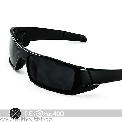 BLACK GAS CAN Sunglasses Super Dark Smoke Lens X Sports Biker Locs Wrap Cool