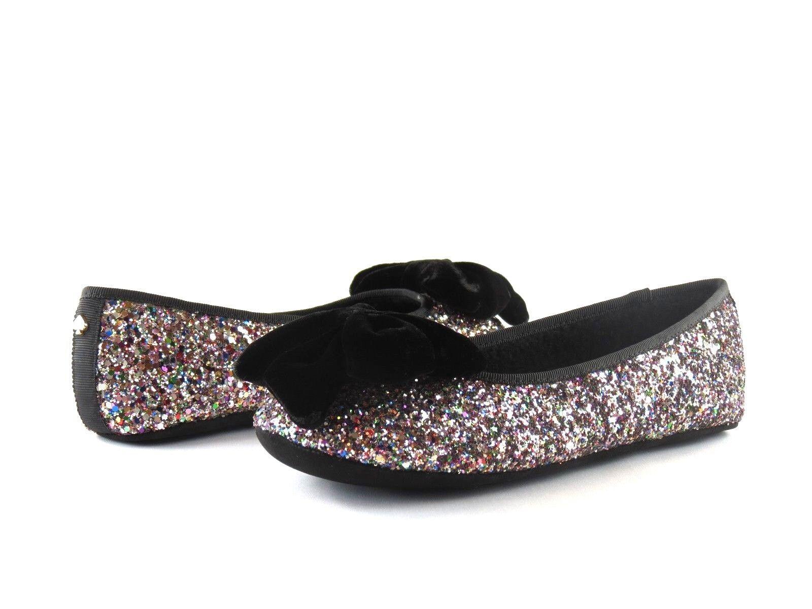 43fe0f525fb8 Kate Spade S182235 Sussex Black Velvet Multi Plush Glitter Flat ...