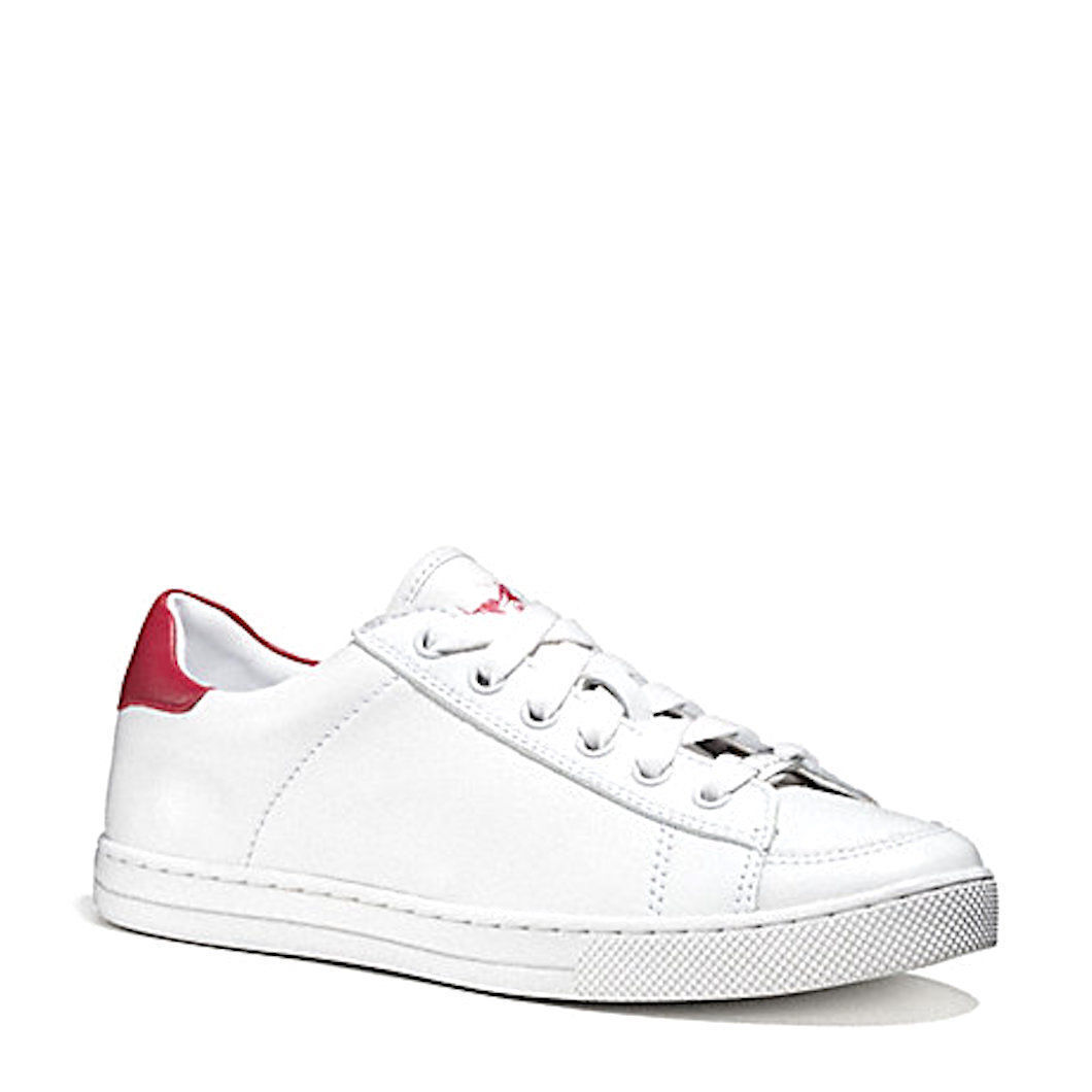True Red Leather Lace up Sneakers