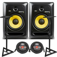 """Krk Rokit 8 G3 Rp8g3 8"""" Powered Home Studio Monitor Speakers + Stands + Cables"""