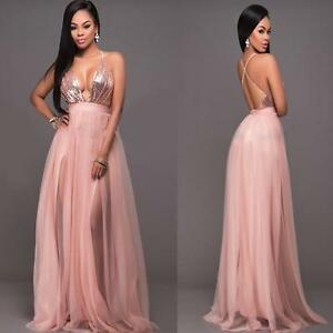 Image Is Loading Women Plunge V Neck Halter Blush Tulle Rose