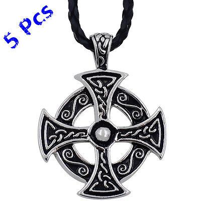 Wholesale 5pcs Men Women Silver Celtic Solar Cross Pewter Pendant Necklace WP235