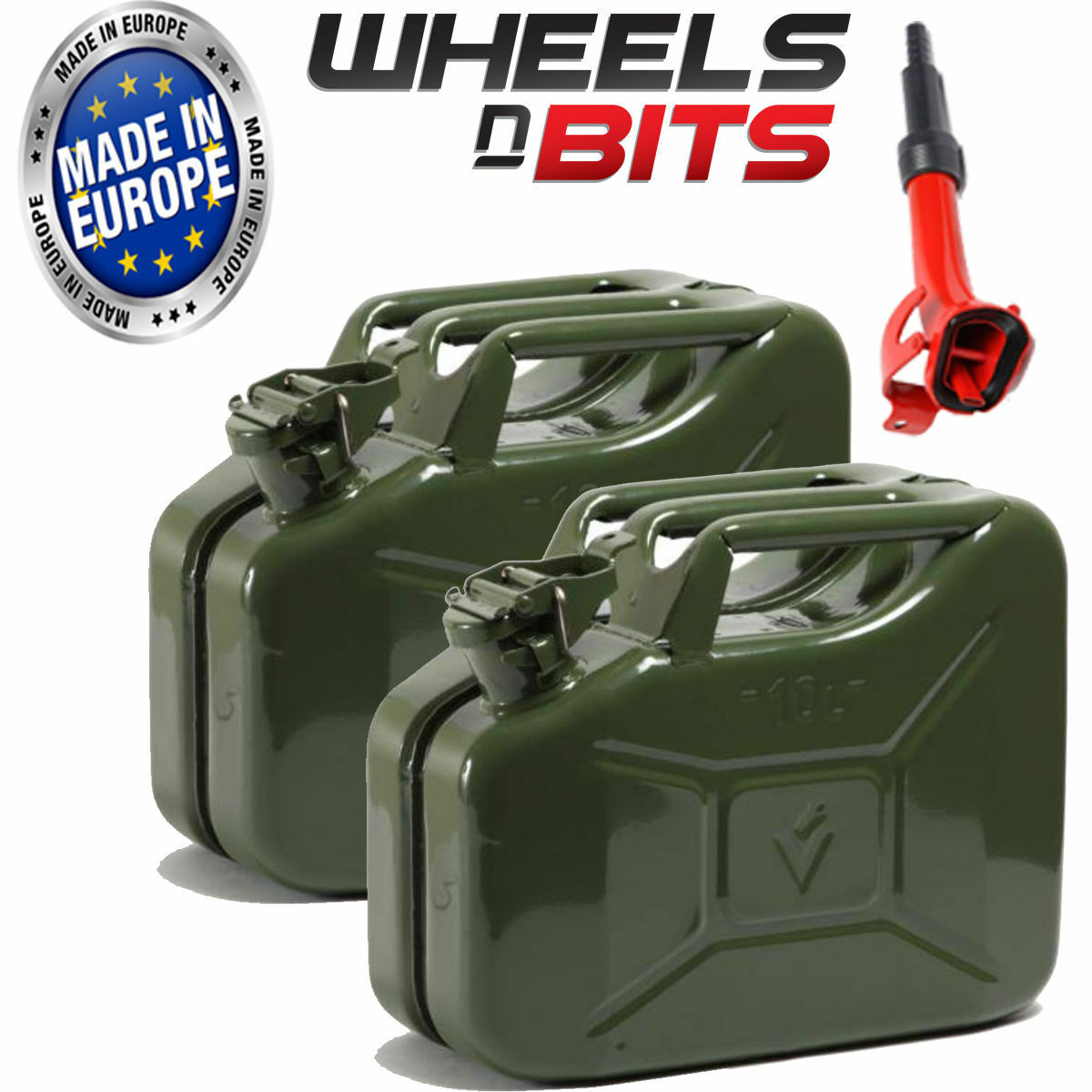 2 x 10L Litre GREEN JERRY MILITARY CAN FUEL PETROL DIESEL RED GREEN WITH SPOUT