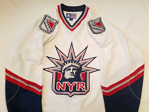 New-York-Rangers-jersey-Starter-White-Mens-Large-Lady-Liberty-L-NHL-NYR