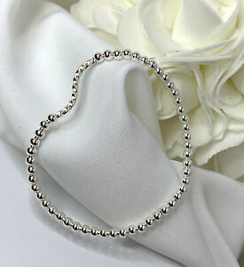 Sterling-Silver-Swirl-Bead-Bracelet-Variety-of-Sizes-Stretch-or-Clasp