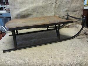 Vintage 1900s Wood And Metal Sled Riveted Not Welded