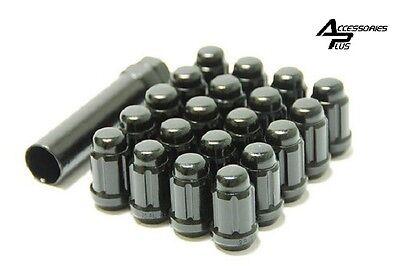 20 Pc / 12mm x 1.50 / CHEVY / BLACK SPLINE TUNER LUG NUTS & KEY # AP-5655BK