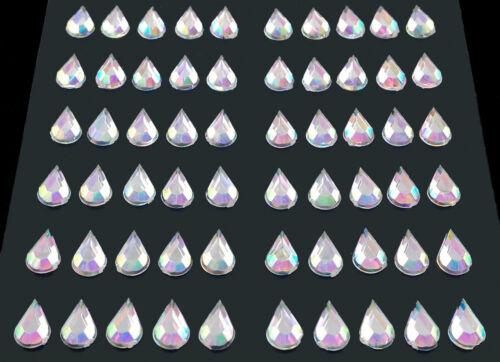 selbstklebende Schmucksteine// Glitzersteine Tropfen 5 x 8 mm silber irisierend