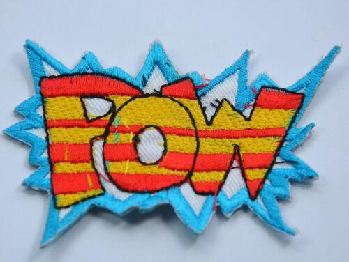 BATMAN CARTOON STYLE POW  2.5/' 5cm SEW IRON ON  PATCH BADGE EMBROIDERY APPLIQUE