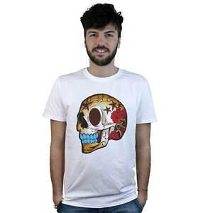 T-Shirt-Mexican-Schaedel-mit-Rosen-T-Shirt-weiss-Stil-Taetowierung-rock