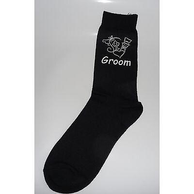 Black Luxury Cotton Rich Bride & Groom Figure with Heart Design Wedding Socks