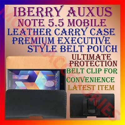 ACM-BELT CASE for IBERRY AUXUS NOTE 5.5 MOBILE LEATHER POUCH CARRY COVER CLIP