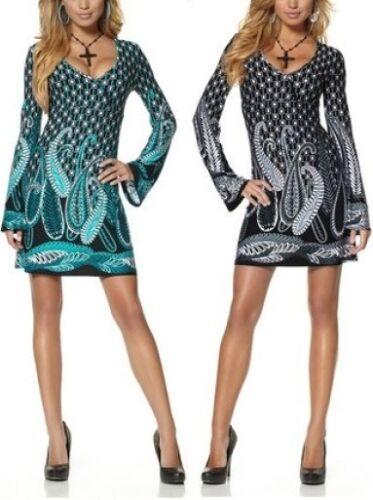 Melrose Tunika Minikleid NEU Gr.32,34 Damen Kleid Bluse Retro Grau Petrol Gr.XS