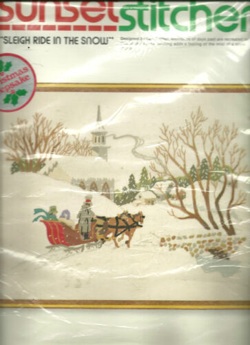 SUNSET SLEIGH RIDE IN THE SNOW,CREWEL Embroidery Kit,MPN 2085,Sealed Vtg 1979