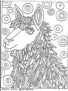 RUG-HOOK-CRAFT-PAPER-PATTERN-Alpaca-FOLK-ART-PRIMITIVE-ABSTRACT-Karla-Gerard