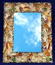 "Assorted Seashell Wall Mount Mirror 12"" X 15"" Seashore Costal Beach Decor"