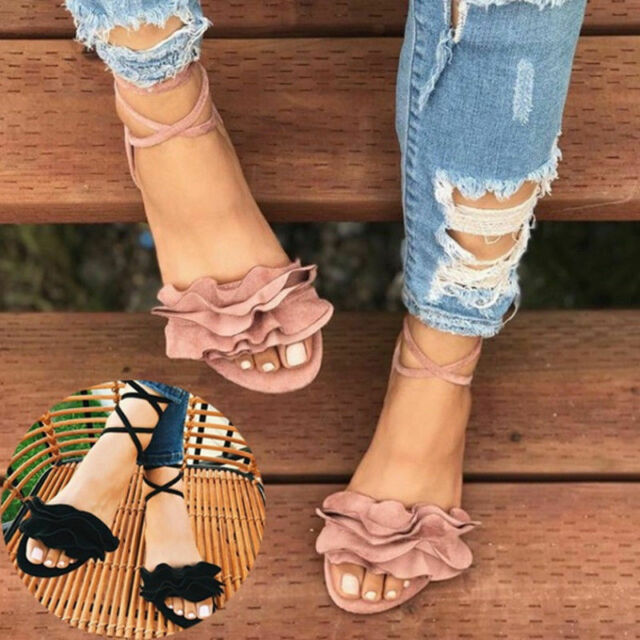 f45a7420fe9 US Women Gladiator Ruffle Sandals Flat Heels Strappy Shoes Open Toe Causal  Beach