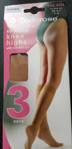 TUDOROSE 40 DENIER KNEE HIGHS COMFORT TOP  NATURAL BLACK OR MINK SEMI OPAQUE