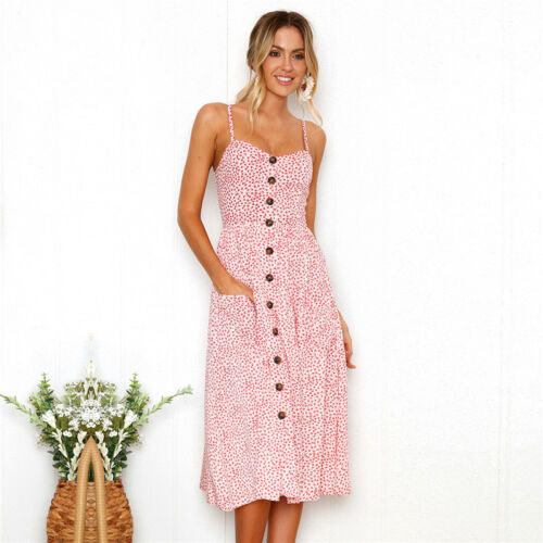 Women Holiday Floral Midi Sundress Lady Casual Beach Party Strappy Slip Dress
