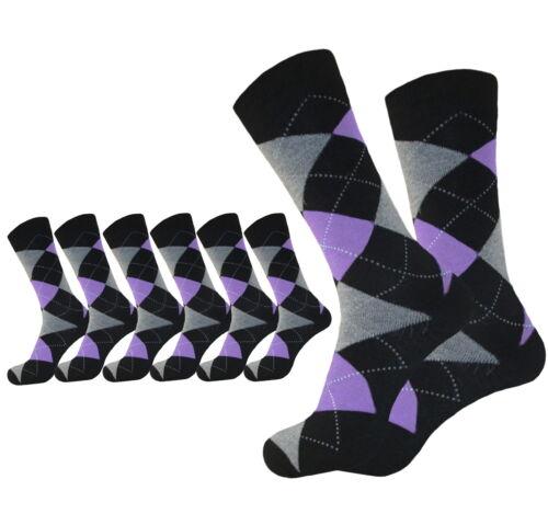 12 PAIR LILAC PURPLE ARGYLE SOCKS FASHION WEDDING COTTON DRESS SOCKS SIZE 10-13
