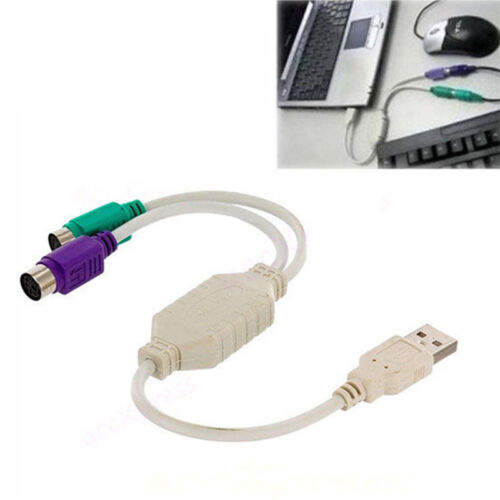 USB To PS2 USB-To-PS2 Computer Keyboard/&Mouse Adapter Connection Y Cable Cord OF