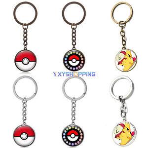 1pcs-Collectable-Anime-Pokemon-Go-Pikachu-Pokeball-Cabochon-Glass-Key-Ring-Gifts