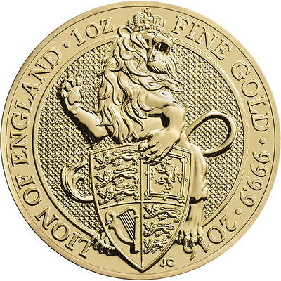 2016 1 oz British Gold Queen's Beast Lion Coin (BU)