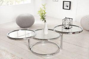 Designer-Couchtisch-Rund-Chrom-in-Silber-Tisch-Beistelltisch-REPRO-Art-Deko-NEU