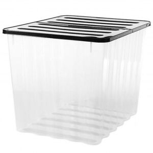Strata-110L-Clear-Plastic-Stackable-Storage-Box-Black-Lid-Strong-Container-HW397