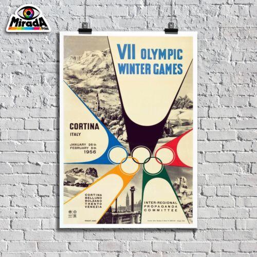 POSTER VINTAGE VII OLYMPIC WINTER GAMES OLIMPIADI INVERNALI CORTINA 1956 SCI