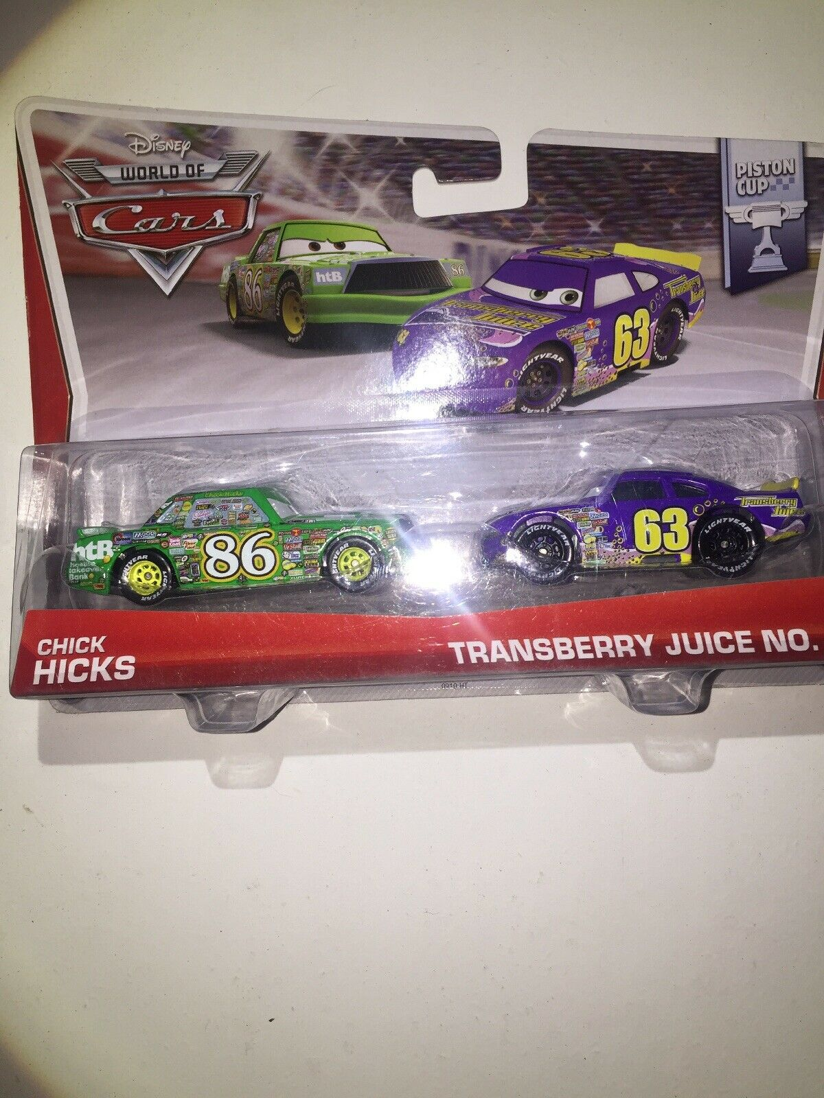 """DISNEY PIXAR CARS /""""2-PACK CHICK HICKS//TRANSBERRY JUICE/"""" NEW IN PACKAGE SHIP WW"""