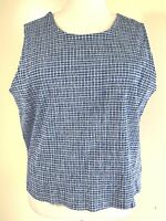 Krazy Kat Plus Size 26/28 Stretch Crinkle Plaid Cotton Blend Tank Top